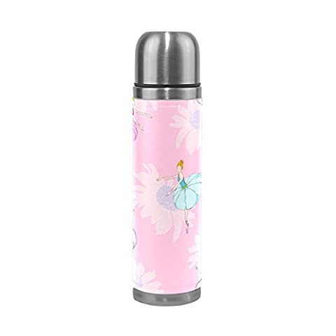 ALAZA Ballet Dancers Flowers Stainless Steel Water Bottle Leak-proof Double Walled Vacuum Insulated Travel Coffee Mug for Hot and Cold Beverages