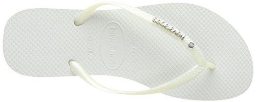 Havaianas Damen Slim Metal Logo and Crystal Sandalen Weiß (white 0001)