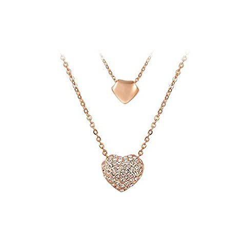 Women Elegant Personality Alloy Austrian Crystal Double Heart Necklace Rose Gold Plated
