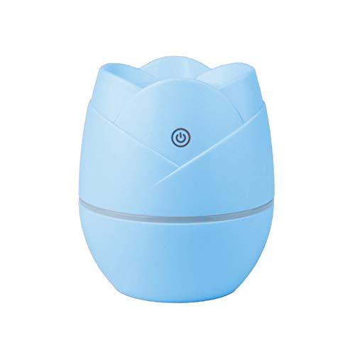 Blau Aromatherapie (Aroma Diffuser 400ML Leise Kalten Nebel Luftbefeuchter Ultraschall Oil Düfte Humidifier Holzmaserung LED,USB Rose Mini Luftbefeuchter Luftreiniger für Schwangere und Kleinkinder im Haushalt,Blau)