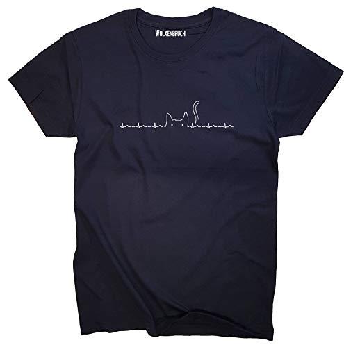 Wolkenbruch® T-Shirt Katze Skyline, Navy, Gr.M