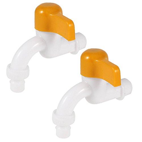 Sourcingmap® Jardin Maison 19mm Diamètre Quart Tour Robinet Eau en Plastique Blanc Robinet 2 pcs