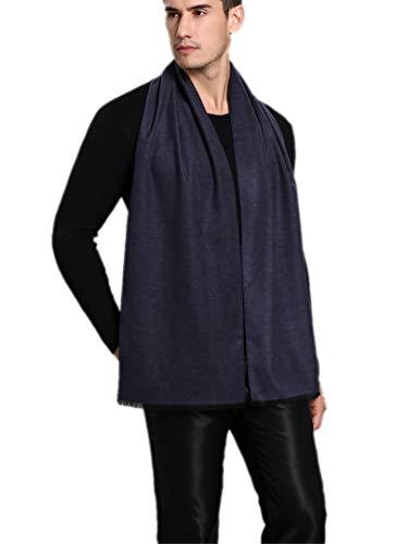 Prettystern Herren Seiden-schal 100% Seide Gebürstet Velour Fleece Effekt Warm Wie Wolle Blau grau gestreift Zs16