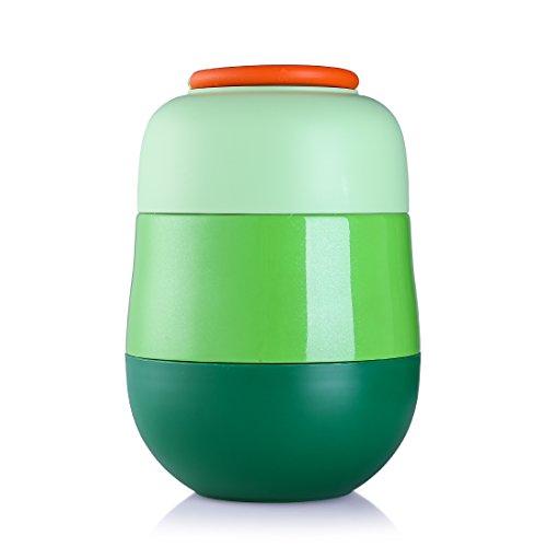 oneisall Cute Student Edelstahl Speisebehälter mit Löffel , isoliert Mini Lebensmittel & Soup Isolierflasche für Kinder , Fläschchen, 520ml grün