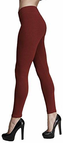 Seawhisper Blickdicht Yoga Leggings Damen Mädchen Winter Hose Lang Baumwolle Rot 36 38