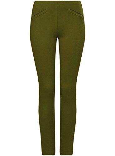 oodji Collection Damen Hose Slim Fit mit Ziertaschen Grün (6901N)