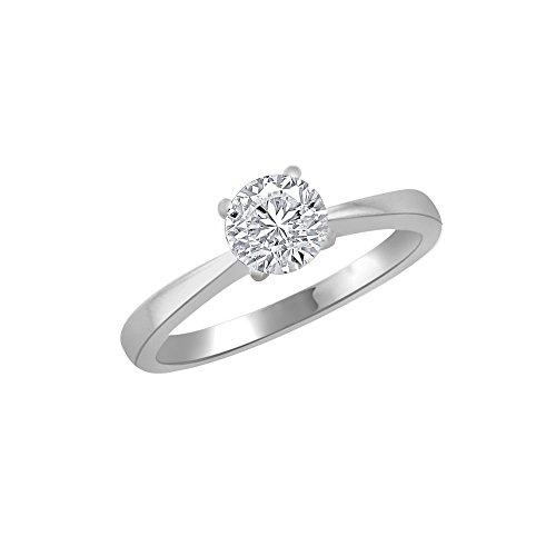 Oro bianco 18K rotonda a forma di anello, 1ct diamante, gh-si, 3.4grammi.