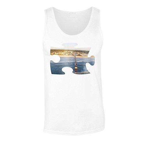 Puzzle spiaggia immagine regalo di ponte di sogno canotta da uomo d877mt White