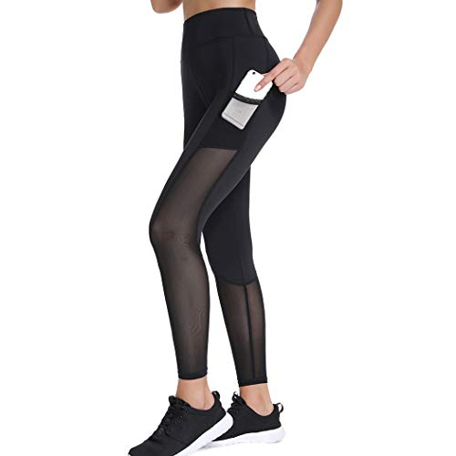Joyshaper Sport Leggings Damen Schwarz Mesh Lange Fitnesshose Sporthose Tights Capri Yoga Workout Hohe Taille mit halbtransparenten Einsätzen (Schwarz #1, Large)