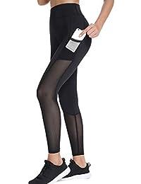 45a2bb9287081c Joyshaper Sports Leggings with Pockets for Women Black Mesh Capri Trousers  Yoga Pants Tights Gym Workout