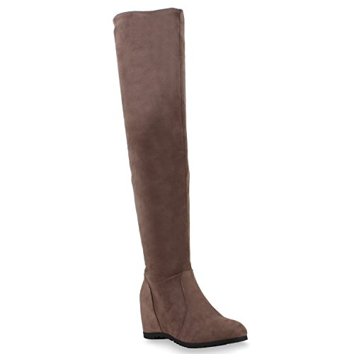 Damen Stiefel Overknees Keilabsatz Boots Schuhe 110245 Khaki 38 Flandell