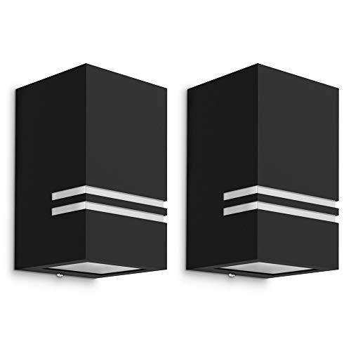 2 Stück schwarze LED Wandaussenleuchte JOVO-S - inkl. 1x GU10 LED 230V 5W neutralweiß - moderne Wandleuchte Up oder Down IP44 -