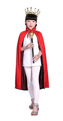 Mantello da Bambino Rosso e Nero - Double Face - Reversibile - Dracula - Vampiro - Travestimento - Accessori - Carnevale - Halloween - Cosplay - Idea regalo per natale e compleanno