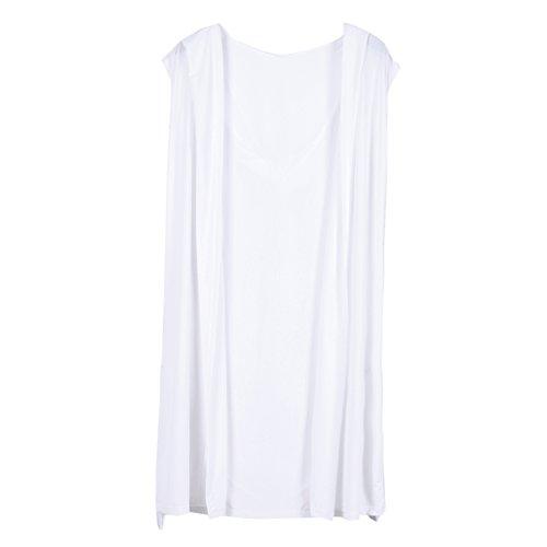 Chouette Robes Peignoir Hommes à Capuche Bain Plus Size Pyjamas Sexy Grande Taille (FR40-46, Blanc) Chouette
