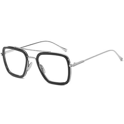 SHEEN KELLY Retro Sonnenbrille Quadratische Brillen Metallrahmen für Männer Frauen Klassiker Sonnenbrille Silber Piloten Auf blu Ray - Stilvolle Blu-ray