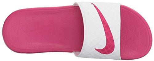 Nike - Wmns Benassi Solarsoft, Infradito Donna White/Fire Berry