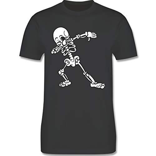 Halloween - Dabbing Skelett - L - Dunkelgrau - L190 - Herren T-Shirt Rundhals