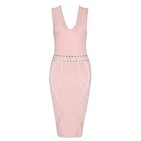 HLBandage Waist Cross Lacing Deep V Neck Rayon Bandage Dress(L,Rose)