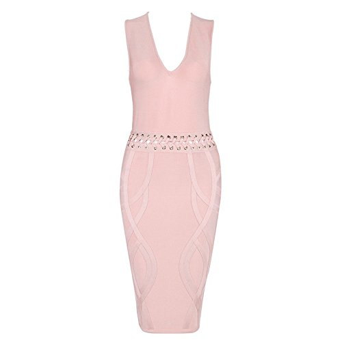 HLBandage Waist Cross Lacing Deep V Neck Rayon Bandage Dress Rose
