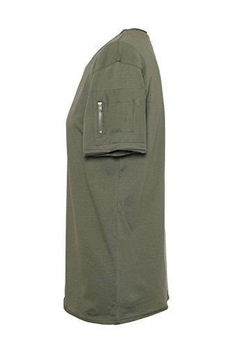 SUBLEVEL Herren Basic T-Shirt   Leichtes Shirt aus hochwertiger Baumwolle mit offenen Kanten middle-green