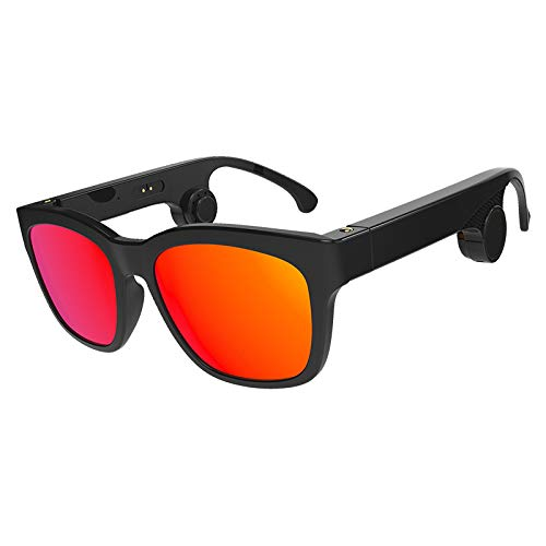 Zero-starting point Drahtlose Knochenleitungssonnenbrille/Smart Brille - für iOS iPad Android Smartphones, Tablets und Smartwatches,Red