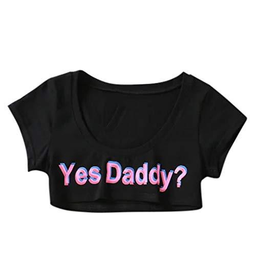 Frauen Tank-Crop Tops Weste Bluse Shirt Damen Sexy Crop Top Kurzarm Sommer T-Shirt Unterwäsche Camisole T-Shirt Frauen Sporttop Cami Bustier Sport BH Gym Yoga Tops Unterhemd Yes Daddy Brief Tanktops