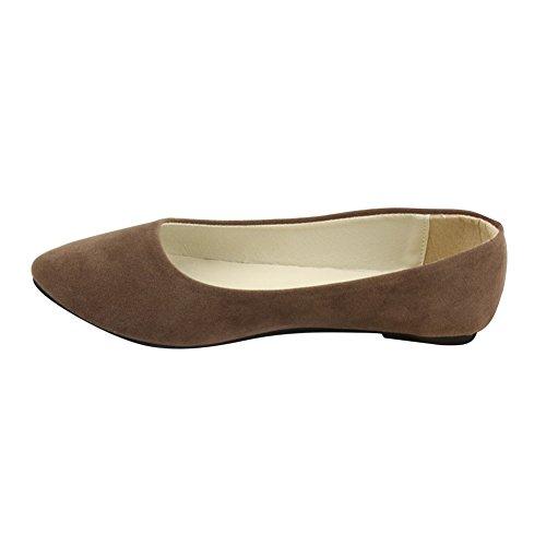 Stiefel Damen Flachschuhe Einzel Schuhe Frauen Sandalen Casual Halbschuhe Comfort Sohle Freizeitschuh Wildleder,Braun,EU 39