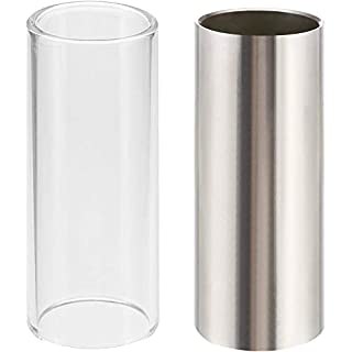 Lvcky 2 Pieces Glass Slide and Stainless Steel Slide in Box for Guitar, Bass, Medium (6 cm)
