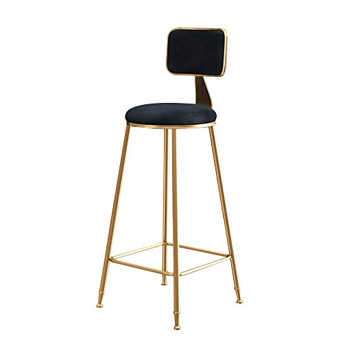 Stühle MEIDUO Haltbare Hocker Barhocker, Barhocker mit Rückenlehne Küche Pub Zähler Samt Kissen Küche Frühstück Barhocker 65 cm / 75 cm 5 Farben für den Innenbereich im Freien -