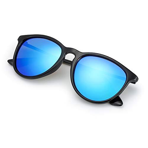 TJUTR Sonnenbrille Herren und Damen Polarisiert für Autofahren, Retro Runde Rahmen - 100% UV400 Schutz (Schwarz/Blau(Verspiegel))