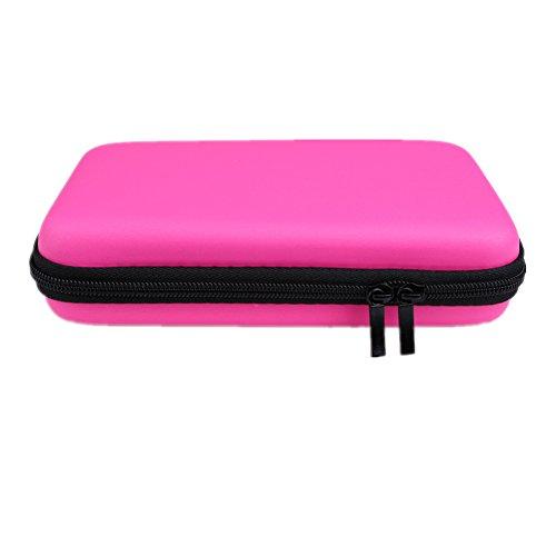 WeiMay Tragbar PU Leder Hard Aufbewahrung Tragetasche Schutzhülle für Nintendo 3DS XL 19*5*8 cm Rose