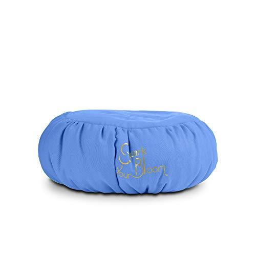 SparkYourBloom Cuscino per Meditazione Zafu di Alta qualità, con Sostegno per la Postura, Color Blu, Lavabile in Lavatrice, 35 x 35 x 15 cm