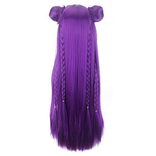 Mypace Blond Lang Glatt Für Männer Damen Game New Skin L/OL K/DA Cosplay Purple Wig Women Anime Medium Rose Net Wigs