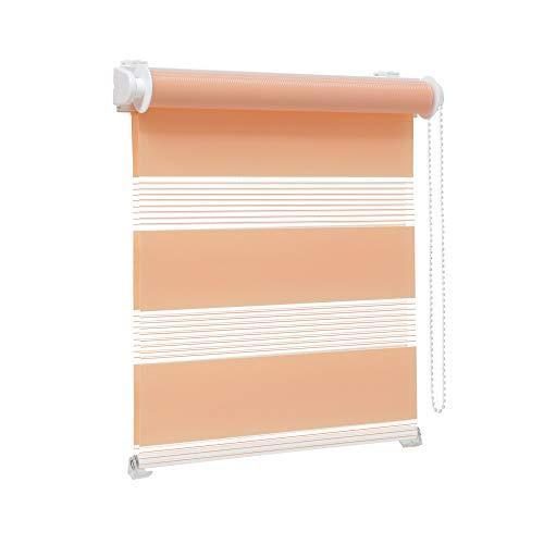 Victoria M. Zevra Estor Doble Enrollable - Estor día y Noche translúcido, 95 x 160 cm, Color melocotón