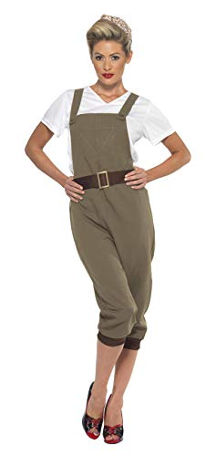 Land Kostüm Mädchen - Smiffys 44438S - WW2 Land-Mädchen-Kostüm mit Top Latzhose und Kopftuch