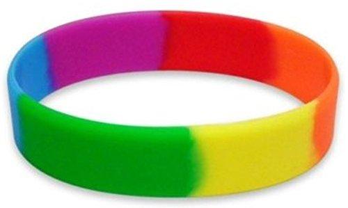 dojore 5x Rainbow Silikon Armbänder. Stretch Mehrfarbig Armband Armreif Pride