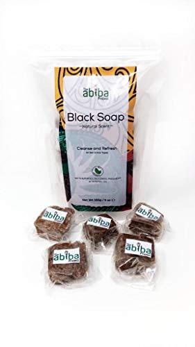 Das Abiba-Projekt African Black Soap | Natürliches Haar, Gesichts- und Körperwäsche | Roher organischer Hautreiniger & Feuchtigkeitscreme mit reinem Shea, Kakaobutter und Kokosnussöl | Für Akne, Ekzem - Natürliche Kakaobutter