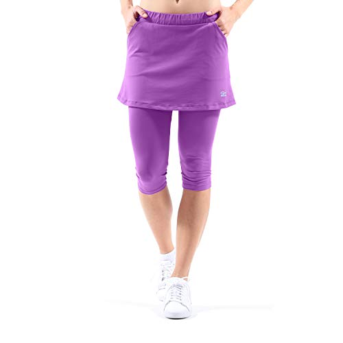 Sportkind Mädchen & Damen Tennis/Hockey/Running 2-in-1 Rock mit Leggings, violett, Gr. 110