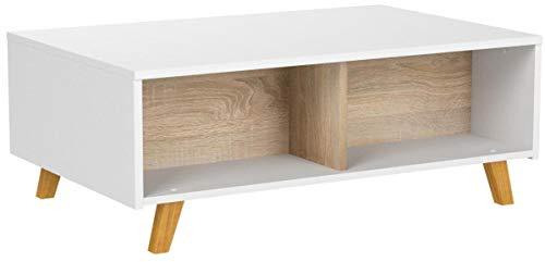COMIFORT Ausziehbarer Höhenverstellbarer Couchtisch - Multifunktional mit Viel Stauraum und Bücherregal, Modern, Sehr Robust, Farbe: Weiß und Eiche, Beine aus 100% natürlichem Buchenholz