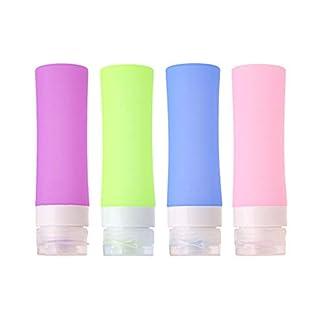 MUUZONING Botellas de Viaje de Silicona, FDA Certified 100% BPA Gratis Recipientes rellenables portátiles a Prueba de Fugas para champú, Acondicionador,Loción, artículos de tocador(4 Unidades) -80ml