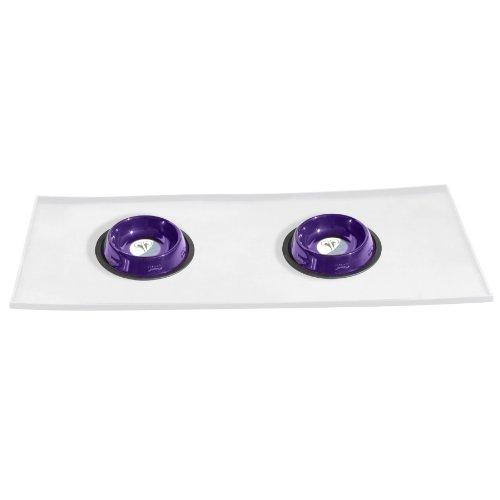 Platinum Pets 1Tasse Kippsicherer geprägt Edelstahl Katze Schalen mit Klar Futterschüsseln, Electric Purple (Schüssel Quart-edelstahl)