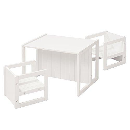 roba Sitzgruppe im Landhausstil für Kinder, bestehend aus 2 Kinderhockern mit 3 Sitzhöhen und 1 zum Tisch umwandelbarer Kinderbank, weiß