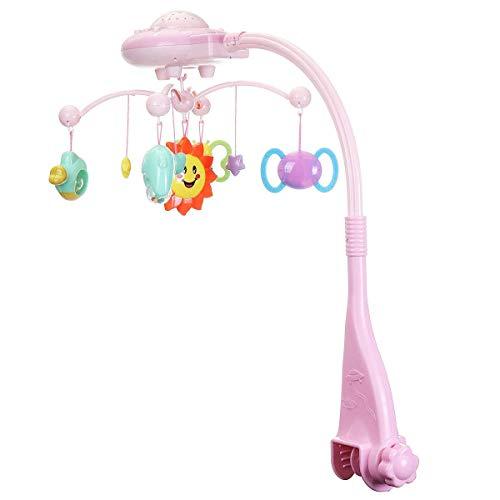 Bright love Lit bébé Pivot de la boîte à Musique Enfant étoile Jouet de Projection lumière, Berceau de Musique Mobile Berceau,Pink