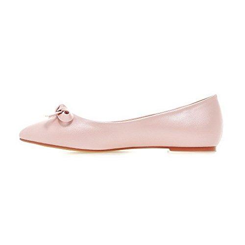 AllhqFashion Femme Pointu Non Talon Matière Souple Couleur Unie Tire Chaussures à Plat Rose