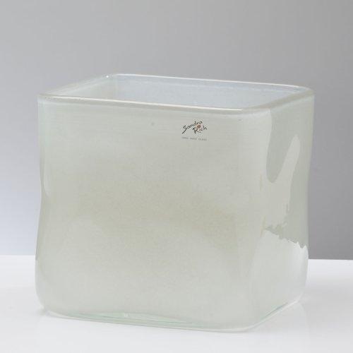 Glasvase SOLID Vase Glas Tischvase Blumenvase Würfel Rechteck, grau, 19 cm (Rechteck-glas-vase)