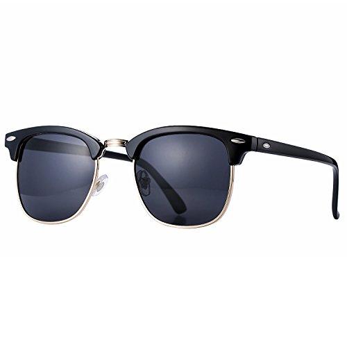 Pro Acme Klassische Halbrand polarisierte Sonnenbrille Clubmaster mit Metallnieten