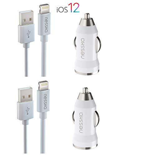 NessKa Originals 4in1 Auto ladekabel Ladeset Ladegerät | 2X 2A KFZ Adapter + 2X 1 Meter USB Schnell Highspeed Kabel | iOS 12 | passend für iPhone X XR XS Max 10 8 7 6s 6 Plus 5s 5c 5 iPod Touch Nano Original-auto-adapter