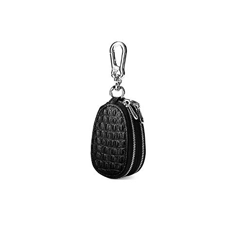 Uioy Oval Short Key Bag - Crocodile Candy Business Autoschlüssel Set 2-Schicht Herren Schlüsselanhänger (Color : Black, Size : 5 * 1.5 * 8.5cm) -