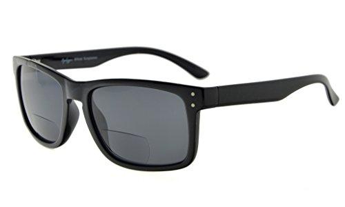 Eyekepper Bifocal Sonnenbrille Männer Frauen (Schwarzer Rahmen, Grau Linse +2.25)