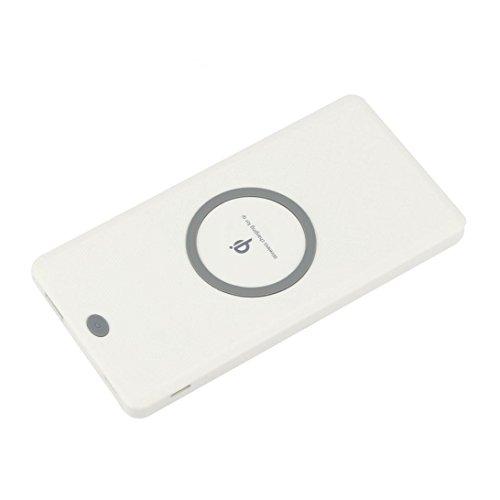 Preisvergleich Produktbild 12shage 6000mAh Tragbare externe USB Power Bank und Wireless Charger (Weiß)